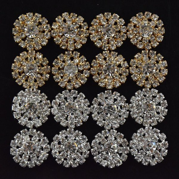 Sunflower Shaped Alloy Multi-rhinestone Button Golden and Silver Girls Jewelry Accesories DIY Kids Hair Accesories Headwear B263