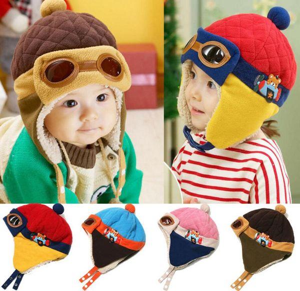 Baby Winter Hat 4 Colors Toddlers Cool Baby Boy Girl Infant Winter Pilot Warm Kids Cap Hat 10 PCS