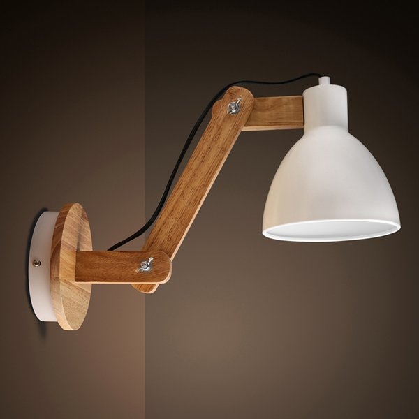 2018 nordic style wood wall lamps adjustable swing arm lights wall nordic style wood wall lamps adjustable swing arm lights wall lights bedroom lamps decors loft home aloadofball Images
