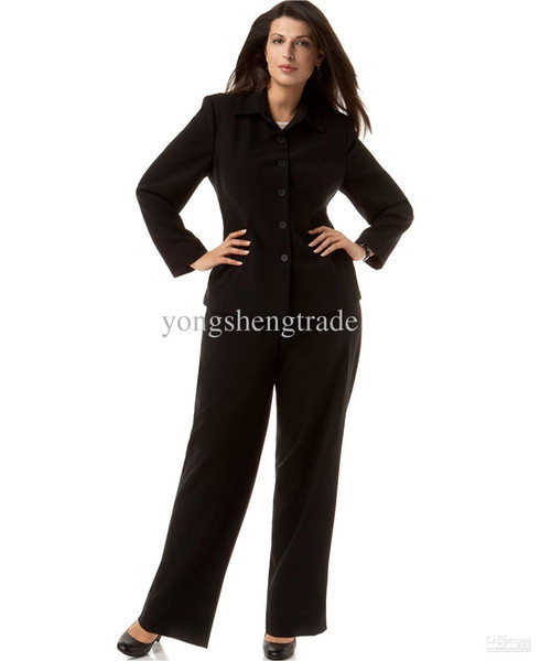 Plus Size Straight-Collar Suit Jacket & Pants Custom Made Suit Black Women Suit Turndown Collar Five Buttons