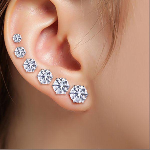 best selling 12pcs 1 Set Fashion Cubic zirconia earrings Steel Stud Earring for Women Display Boards Wholesale Jewelry Lots Free Shipping