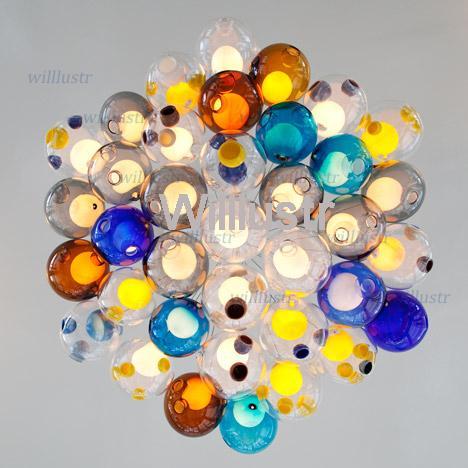 led de color luces colgantes de cristal de la lmpara de vidrio de colores esferas de