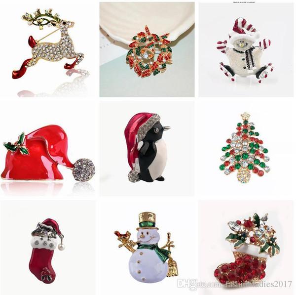 25 Arten Winterkollektion Weihnachten Brosche Schneemann Weihnachtsmann Hirsch Baum Boot Garland Modeschmuck Geschenk Weihnachtsdekoration Brosche