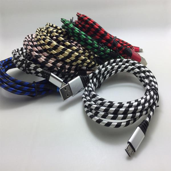 2017 микро кабель Зебра зерна плетеный нейлон высокая скорость зарядки USB 3ft синхронизации данных шнур для samsung LG смартфон металлический кабель cab196