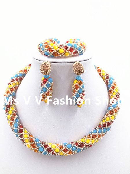 New blue yellow red orange color Crystal Bead Necklace Dangle Earrings Set Accessory Choker Jewelry Set African Style Free Shipping