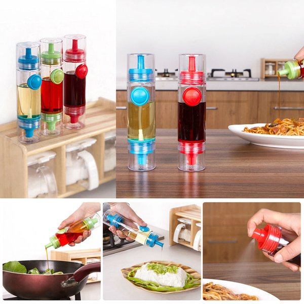 2 in 1 Cooking Olive Oil Sprayer Dispenser Cruet Oil Bottle Sprayer Can Oil Jar Pot Tool Can Kitchen Pastry Tools blue E5M1 order<$18no trac