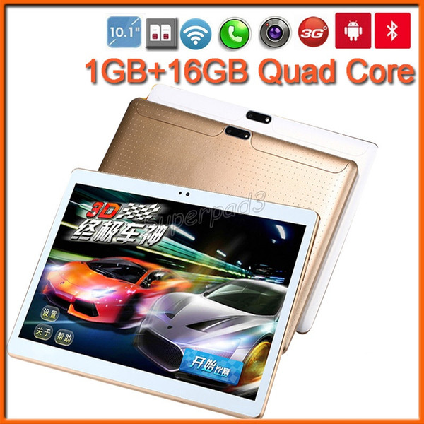 PC Tablets 10.1 Inch MTK6580 HD Android 5.1 1GB 16GB Quad Core Dual SIM Webcam 3G Phablet Bluetooth GPS Tablet PC