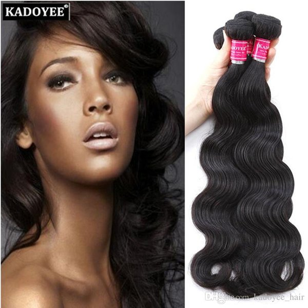 Kadoyee 8A Unprocessed Brazilian Body Wave Human Hair Weaves Extensions 3 Bundles for Full Head Dyeable Bleachable Free Shipping US UK SA