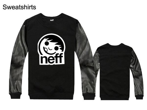 Neff Sweatshirts Casual hiphop mens Pure Cotton/pu leather silm fit new design male Sportswear Clothing hoodies Free Shipping