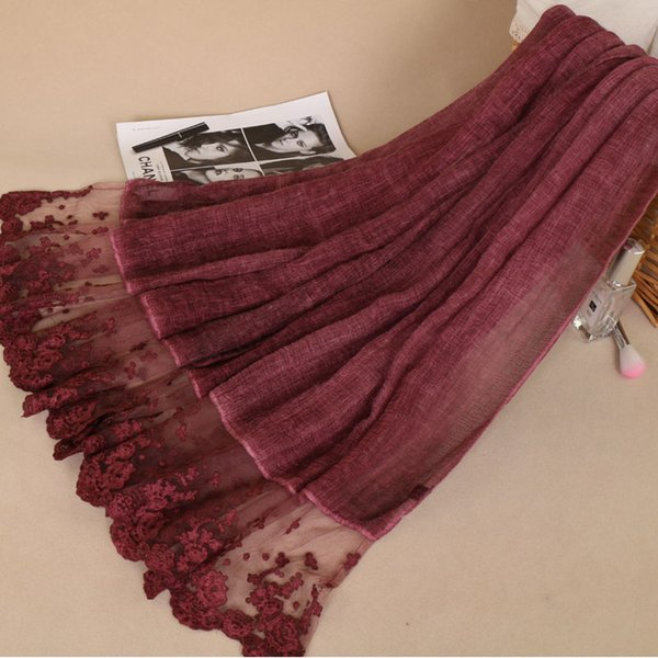 Women cotton linen shawls Luxury lace floral hijab wrap long headband 7 color high quality scarves/scarf 210*80cm BS482
