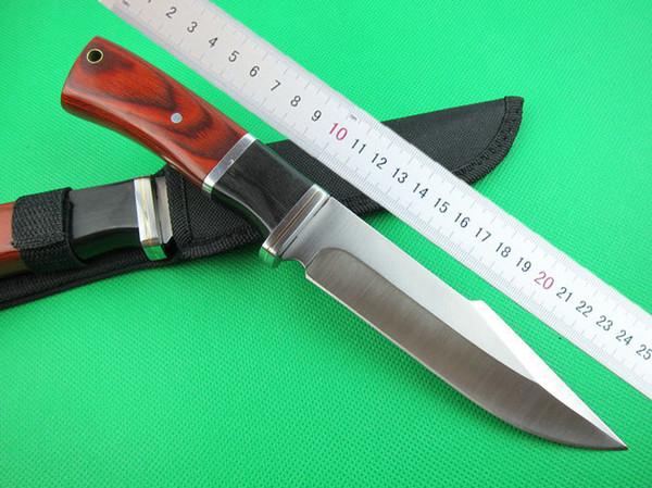 WholesaleColum bia K310B Survival straight knife 440C 56HRC Satin Finish blade Steel&wood handle fixed blade knife with nylon sheath