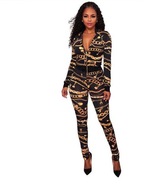 top popular 2018 Spring Women Tops Jacket + Pants 2 Piece Set Gold Chain Print Tracksuit Female Sportive Outfit Suit Crop Top Zipper Sweatsuit 2019