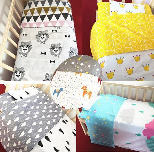 Nordic Style Combed Cotton Printing Baby Bedding Set Comfortable Bed Colorful Decorative Three-piece Crib Set Baby Bedding