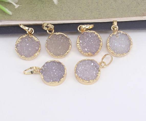 10pcs 13mm Round Shape Natural Druzy Agate Quartz Pendants,Gold Plated charm Gemstone Druzy Pendants,For Jewelry Making