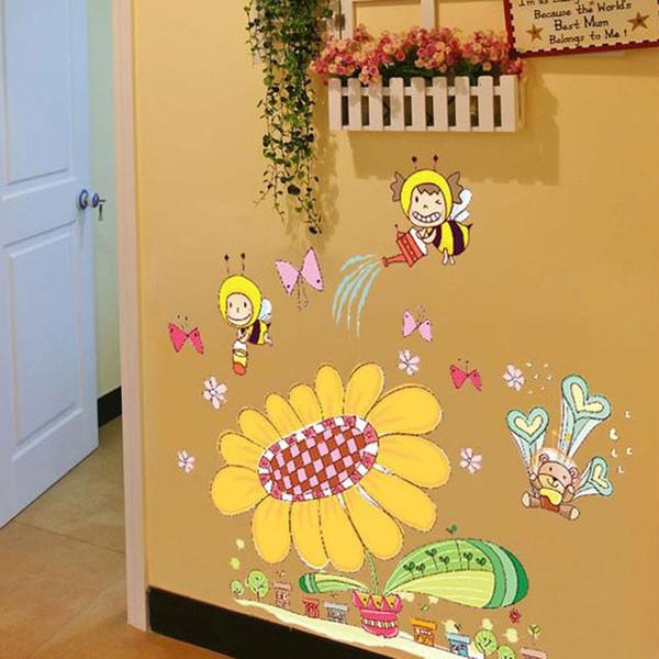 10Pieces/lot Cartoon bees sunflower wall stickers children room Kindergarten background decorative wallpaper waterproof wall stickers