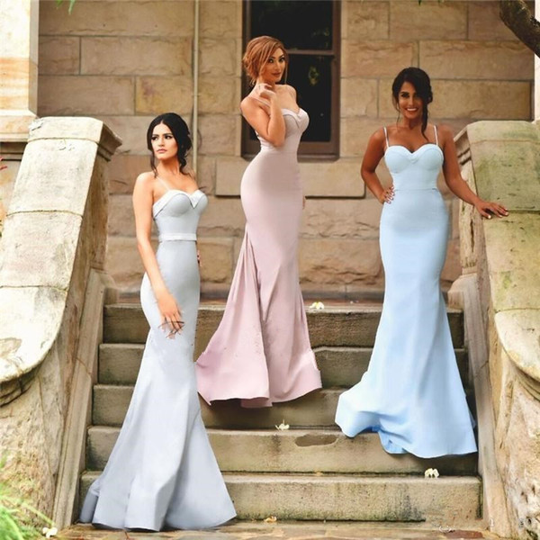 2017 New Arrival Sexy Spaghetti Straps Mermaid Country Bridesmaid Dresses Rose Pink Light Sky Blue Silver