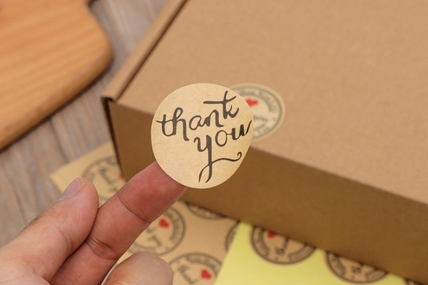Thank You self-adhesive label stickers round shape kraft label sticker for DIY Wedding Gift Cake Baking Sealing Sticker 3 style in stock