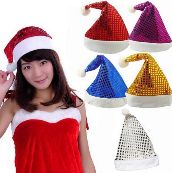 Weihnachten Pailletten Glanz Weihnachtsmütze Männer Frauen Erwachsene Weihnachten Hut Festliche Kostüme Kappe Party Zubehör Liefert 5 farben