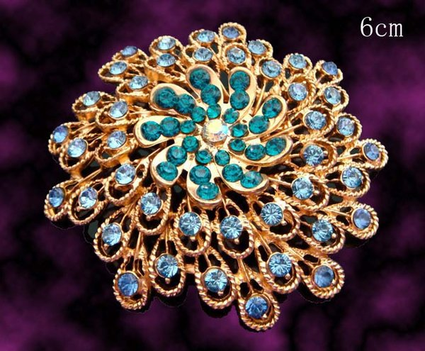 Wholesale fashion Women plating gold zinc alloy rhinestone flowers Brooches costume jewelry Free shipping 12pcs lot mixed color BH710