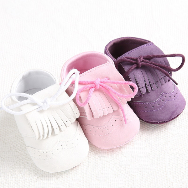 Wholesale- Fashion Branded Girls Newborn Sneakers Boy Baby Moccasins Soft Sole Kids Shoes Leather Toddler Booties First Walker Tassel Boots