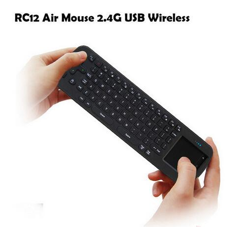 Retail 1PCS RC12 Mini Handheld 2.4G Wireless Touchpad Air Mouse Keyboard Remote Control For PC Notebook Android TV BOX Black Free Shipping