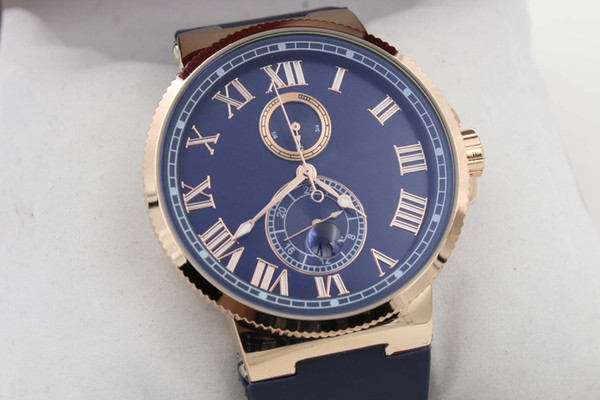 Hot Sale UN Auto watch Blue Dial Gold Case Lelocle Suisse Rubber Band Glass Back 45mm Mechanical watch free shipping