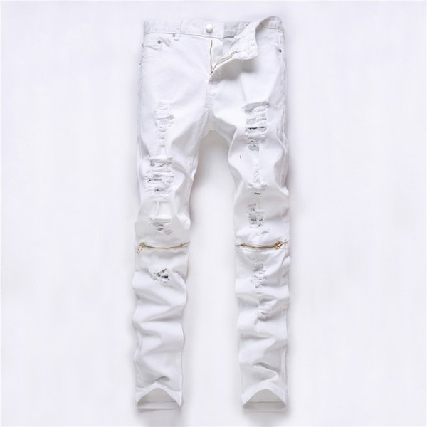 2016 Fashion ripped Straight jeans men Slim printed jeans Men's Tide brand hole denim fabric Hip hop swag pants casual mens