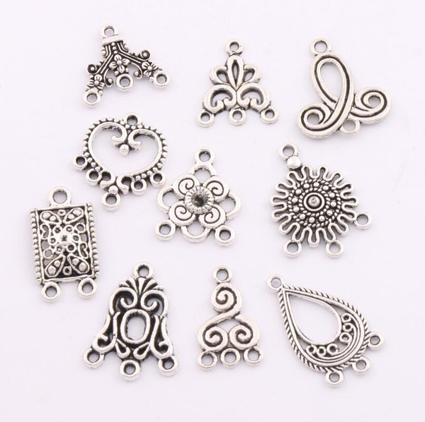 80pcs / lot pendenti di fascini orecchini connettori 10 stili connettore d'argento tibetano per gioielli artigianali fai da te lm1 risultati dei monili componenti