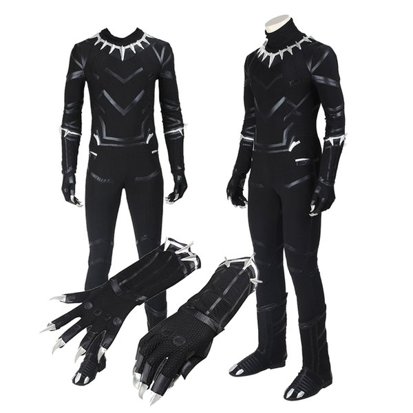 Original Captain America 3 Guerra Civile Black Panther T'Challa Cosplay Costume Customize Foe Halloween Black Outfit