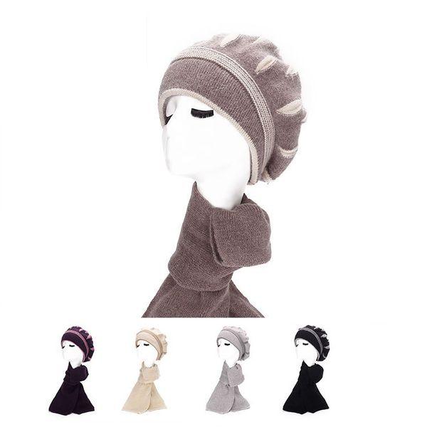 Femmes Chapeaux Foulards Ensembles Top mode Fascinator Chapeaux Mignon Casquettes Mélanger laine Tricotage laine crâne casquettes gants accessoires de mode ensembles cadeaux