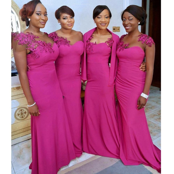 2018 African Fuchsia Mermaid Bridesmaid Dresses Sheer Neck Appliques Short Sleeves Satin Jacket Wrap Wedding Gust Dress Maid of Honor Gowns