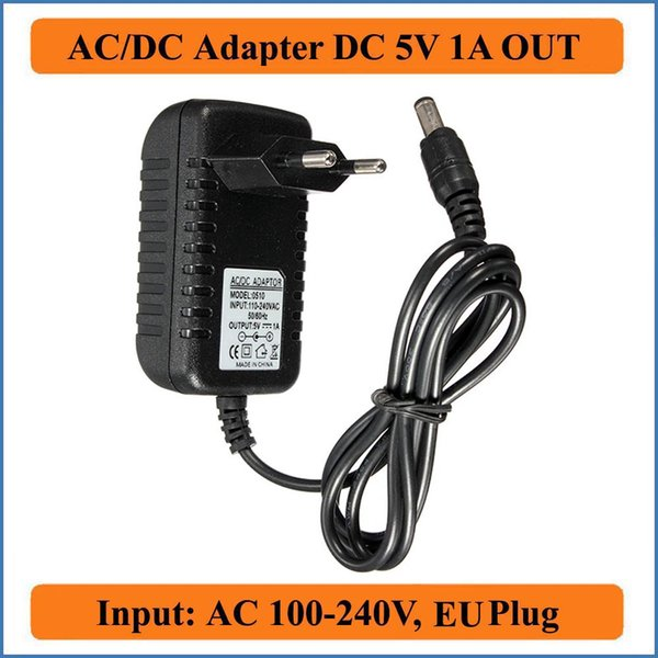 5V 1A EU Plug AC DC Adapter AC 100-240V Converter to DC 5V 1000mA Power Supply Charger 5.5mm x 2.1-2.5mm jack for LED CCTV