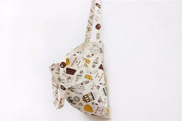 2016 New Cartoon Printed Cotton Linen Fabric Cloth Women Tote Handbag Ladies Bag Single Shoulder Bag Shopping Bag