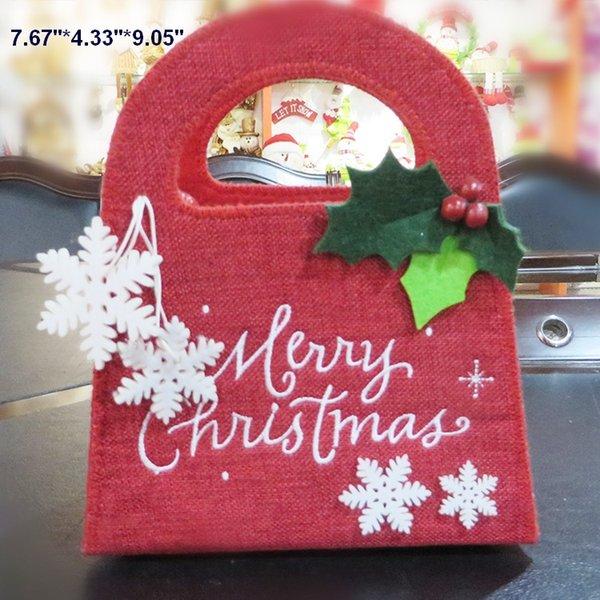 Regalo de Navidad bolsas props orname Niños lindos Bolsas de caramelo superior corazón de estrella de copo de nieve Decoraciones de Navidad caramelo regalo 5 artículos a elegir
