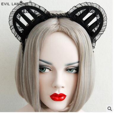 Yıllık kulübü dantel kedi kulak saç çember toka çapa gösterisi MOE resimsel fotoğrafçılık kadın makale süslüyor