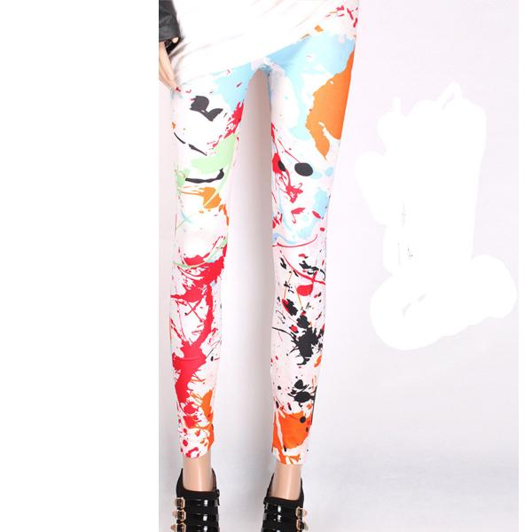 Wholesale- Women Legging Splashed Ink Graffiti Print Colorful Leggings Sale Cheap LGGING-1347