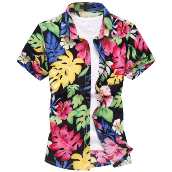Wholesale-2016 Fashion Mens Short Sleeve Silk Hawaiian Shirt Plus Size M-6XL Summer Casual Floral Shirts For Men