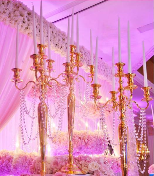 wholesale gold iron single pillar candle holder custom candle holder crystal candle stand candlesticks
