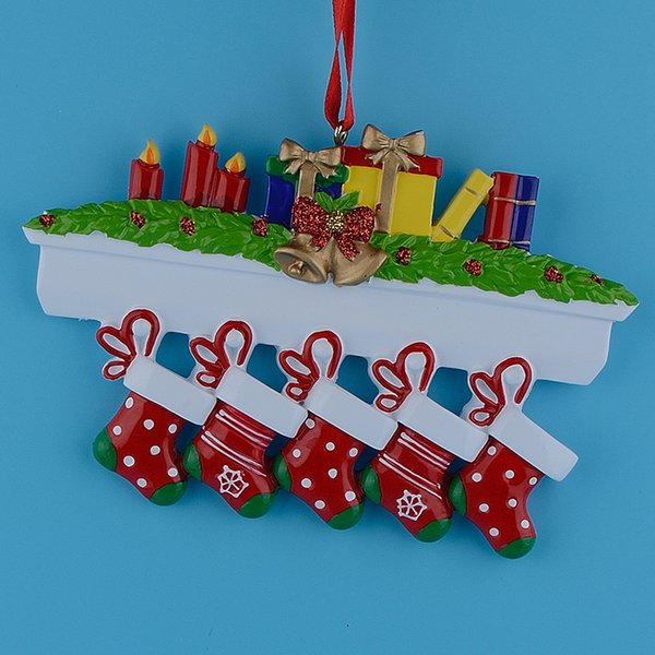 Mantel Stockings Family of 5 Polyresin Christmas Personalized Ornament