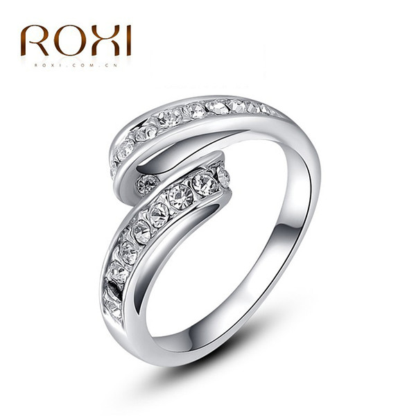 ROXI Valentine's Day Gift Rings for Girl Classic Genuine Austrian Crystals White gold Color Single Stage elegant Ring