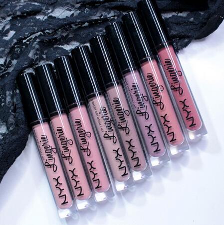 12 colori di lunga durata Lucidalabbra NYX Lip Lingerie Rossetti liquidi opachi Marche Rossetto impermeabile Trucco lucido per labbra nude