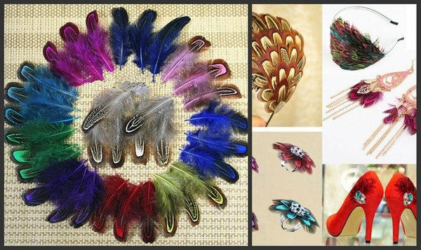 200pcs/lot 4-8cm colorful dyed real natural almond pheasant plumage feathers For DIY Hat Shoes Craft Arts Jewelry Making bulk sale