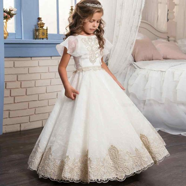2017 Fashion Flower Girl Dresses With Flutter Sleeve For Wedding ...