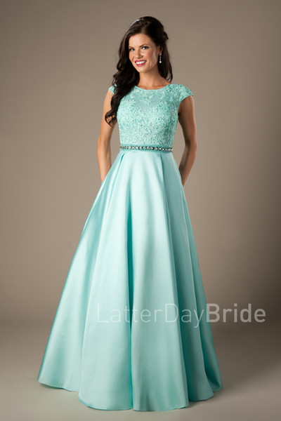 Coral Satin Lace Long Modest Prom Dresses 2017 Cap Sleeves A-line Beaded Elegant Beaded Girls Formal Mint Evening Prom Party Dresses Cheap