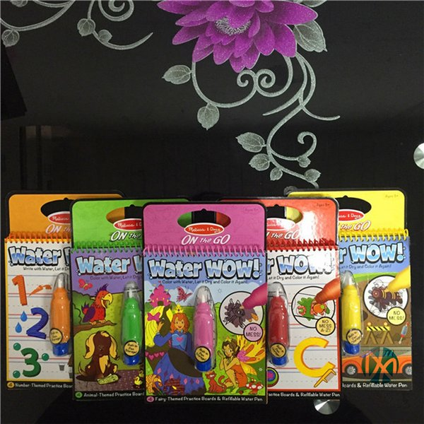United States Reusable Pen Aqua Coloring Book Doodle Arts Drawing Writing On The Go Water Wow Bundle Paint Board Toys for Children Kids DHL