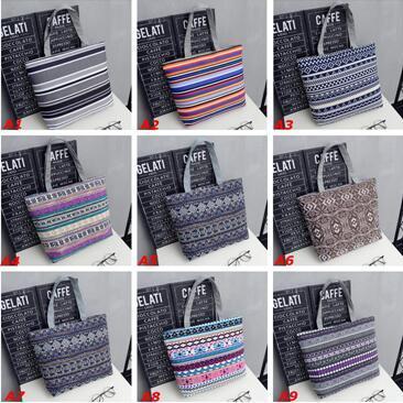Leisure Canvas Shopper Shoulder Bag Striped Mom Bags Large Capacity Tote Women Ladies Casual Shopping Handbag Bolsa DHL Free Shipping