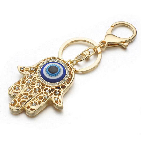 Lucky Charm Amulet Hamsa Fatima Hand Evil Eye Keychains Purse Bag Buckle Pendant For Car Keyrings key chains holder women K236