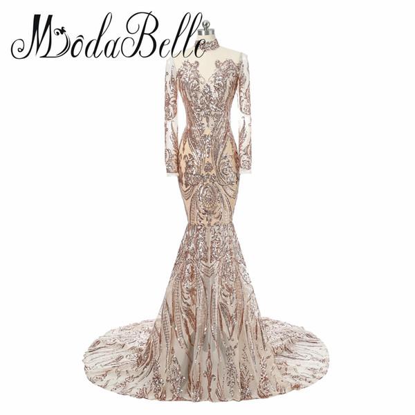 New Fashion Long Sleeve Women Evening Dresses Long Sparkle V-Neck Elegant Sequin Mermaid Maxi Evening Party Gown Dress
