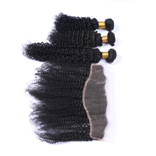 Kinky Curly 8A Virgin Hair Bundles With Lace Frontals 4Pcs/Lot Ear To Ear Lace Frontal With Hair Weaves For Black Woman