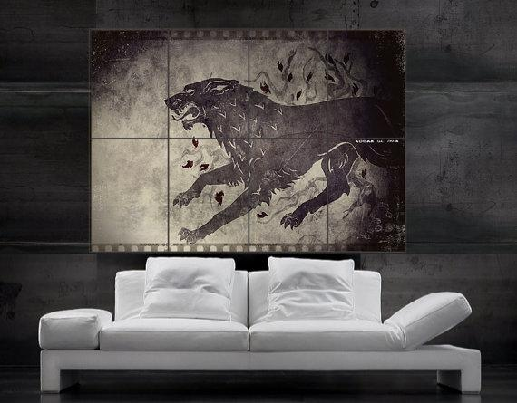 Game Of Thrones Wall Art game of thrones stark direwolf sigil poster print wall art 8 parts